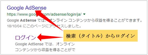 グーグル検索のアドセンスログイン画面