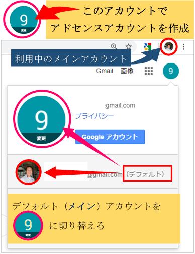 Googleアカウントの切り替え画面