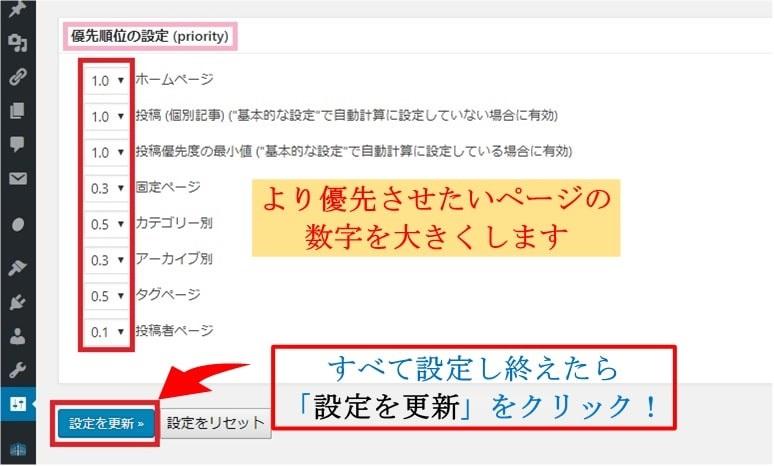 Google XML Sitemapsでページの優先順位を設定する画面