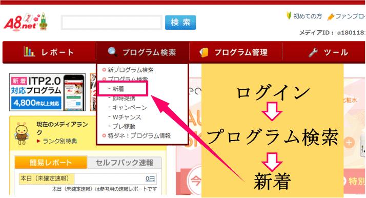 a8netのログイン画面