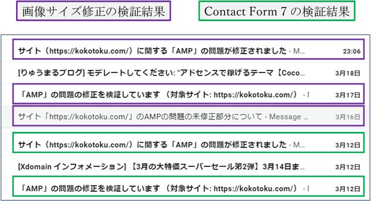 AMPの問題が修正されたときのgメール通知の画像