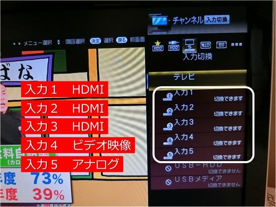 テレビの外部入力の切り替え設定画面