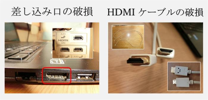 パソコンとテレビのアダプター差し込み口とhdmiケーブルの画像