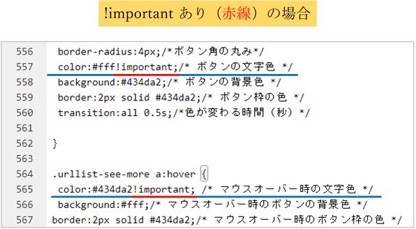 cssコード有りの記述例の画像!important