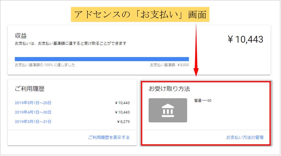 Googleアドセンスのお支払い画面