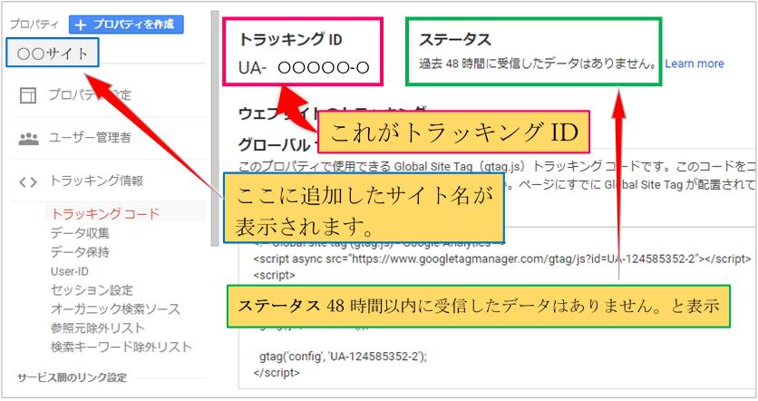 Googleアナリティクスのプロパティの追加完了画面