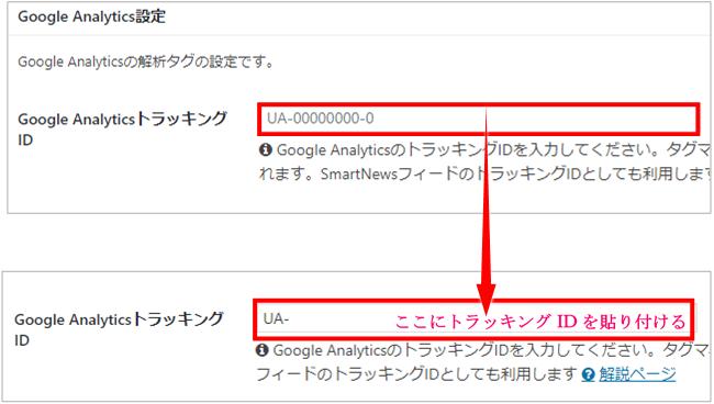 ワードプレスCocoonテーマのGoogleアナリティクストラッキングID設置画面
