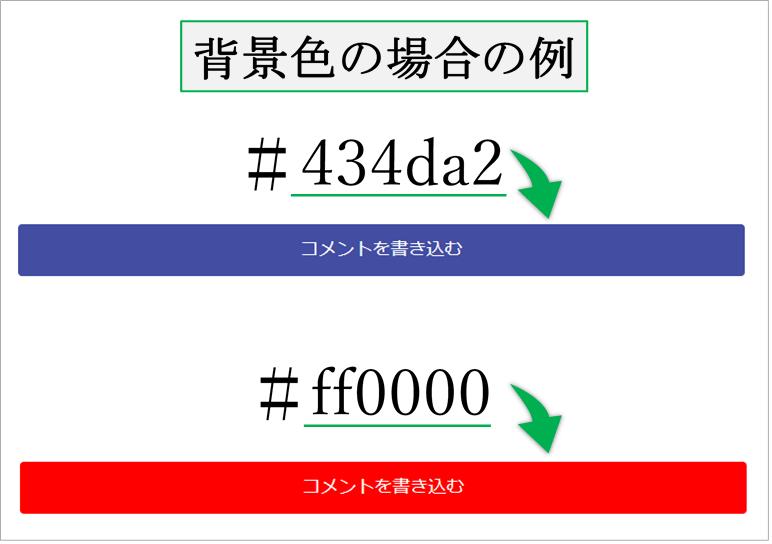 ウェブカラーのCSSコード変更の例画像