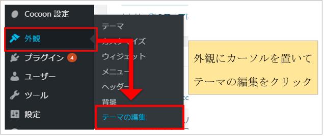 ワードプレスCocoonのダッシュボード画面